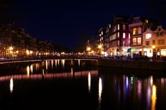 Amsterdam innercity by night in Netherlands Royalty Free Stock Photography