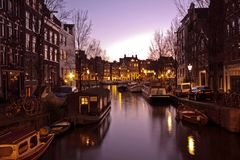 Amsterdam innercity by night in the Netherlands Stock Images
