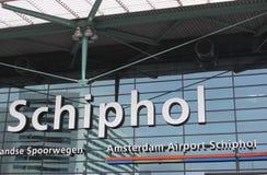 Amsterdam internationell flygplats Schiphol, Netherlan Arkivbilder