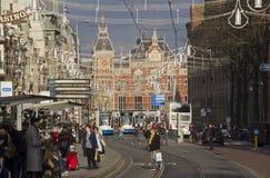 Amsterdam järnvägsstation, Holland Arkivbild