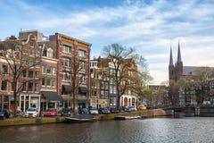 Amsterdam, jour de canal au printemps Images stock