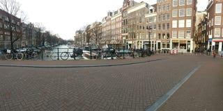 Amsterdam kanały, zima w mieście Fotografia Royalty Free