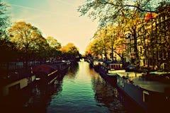 Amsterdam, kanałowy widok obraz royalty free