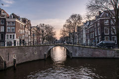 Amsterdam kanału most Obrazy Royalty Free