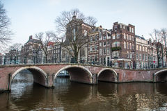 Amsterdam kanału most Obraz Stock