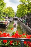 Amsterdam-Kanalansicht Stockfotografie