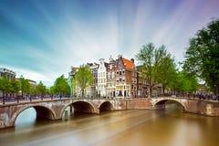 Amsterdam kanalmoln Arkivfoto