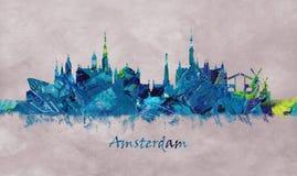 Amsterdam kapitał holandie, linia horyzontu royalty ilustracja