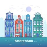 Amsterdam kreskowa sztuka europejski stary miasteczko ilustracji