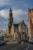 Amsterdam la chiesa olandese Westerkerk immagini stock