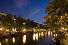 Amsterdam la nuit Photo stock