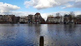 Amsterdam landscape from across the water stock video