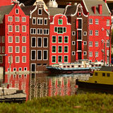 Amsterdam in Lego. Amsterdam canal side houses constructed with Lego bricks in Legoland, Billund, Denmark stock images
