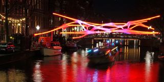 Amsterdam Light Festival. More than 30 works of art light up Amsterdam`s historic city center during the winter months as part of the annual Amsterdam Light stock photos