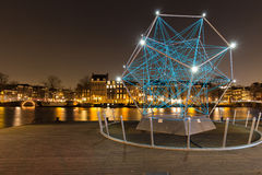Amsterdam Light Festival - The Uniting Lightstar. The Uniting Lightstar, artwork by Venividimultiplex Onne Walsmit, Dirk Schlebusch and Joost van Bergen placed stock photo