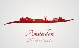 Amsterdam linia horyzontu w czerwieni Obraz Stock