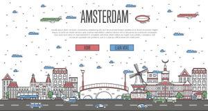 Amsterdam linia horyzontu z krajowymi sławnymi punktami zwrotnymi Obrazy Stock