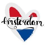 Amsterdam literowanie Ręka pisać Amsterdam Flaga sieć ilustracja wektor