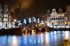 Amsterdam ljusfestival 2015 Royaltyfri Bild