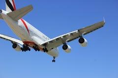 Amsterdam los Países Bajos - el abril, 21ro 2018: Emiratos Airbus A380 de A6-EEE Fotografía de archivo libre de regalías