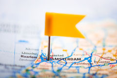 Amsterdam on a map Stock Photos