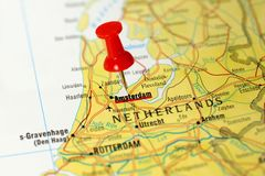 Amsterdam on a map Stock Images