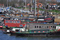 Amsterdam marina by Schellingwoude. Dutch harbour Stock Photos