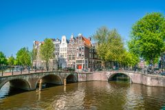 Amsterdam, May 7 2018 - The corner of Keizersgracht and Leidsegr. Acht with tourist enjoying the city at the channels on a sunny day Royalty Free Stock Photography