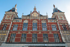 Amsterdam-May 01: Facade of the Amsterdam Centraal Station on May 01,2015 in Amsterdam, Netherlands. Stock Images