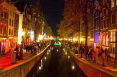 Amsterdam-May 1: Red light district (Wallen) at night on May 1,2015 in Amsterdam, the Netherlands. Stock Image