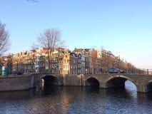 Amsterdam miasta domy Zdjęcia Royalty Free