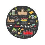 Amsterdam miasta doodle ilustracji