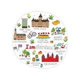 Amsterdam miasta doodle royalty ilustracja