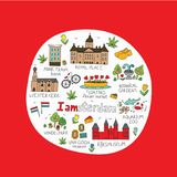Amsterdam miasta doodle ilustracja wektor