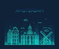 Amsterdam miasta linii horyzontu Modna wektorowa kreskowa sztuka Zdjęcia Stock