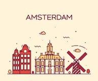 Amsterdam miasta linii horyzontu Modna wektorowa kreskowa sztuka Obrazy Royalty Free