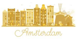Amsterdam miasta linii horyzontu złota sylwetka Obrazy Royalty Free
