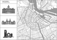 Amsterdam miasta mapa z pociągany ręcznie architektur ikonami ilustracji