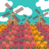 Amsterdam miasta mieszkania sztuka Podróżuje punkt zwrotnego, architektura holandie, Holandia domy, wiatraczek w tulipanach Zdjęcia Royalty Free