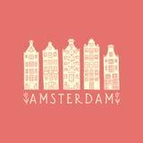 Amsterdam miasta plakat royalty ilustracja