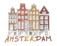 Amsterdam miasta rysunek Ilustracji