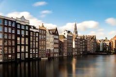 Amsterdam miasta widok holandia tradycyjni domy z Amste Zdjęcie Stock