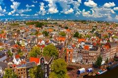 Amsterdam miasta widok od Westerkerk, Holandia, holandie Zdjęcia Stock