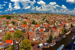 Amsterdam miasta widok od Westerkerk, Holandia, holandie Obrazy Stock