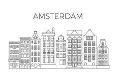 Amsterdam mieści miasto panoramę Holenderska uliczna budynku wektoru linia horyzontu royalty ilustracja