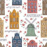 amsterdam Modèle sans couture avec de vieux bâtiments historiques et architecture traditionnelle des Pays-Bas illustration libre de droits