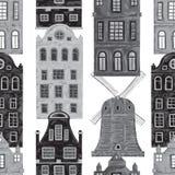 amsterdam Modèle sans couture avec de vieux bâtiments historiques et architecture traditionnelle des Pays-Bas Photos stock