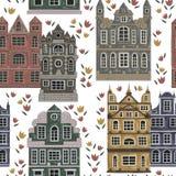 amsterdam Modèle sans couture avec les bâtiments historiques et architecture traditionnelle des Pays-Bas Image stock