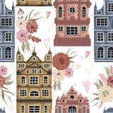 amsterdam Modèle sans couture avec les bâtiments historiques et architecture traditionnelle des Pays-Bas illustration libre de droits