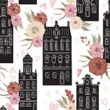 amsterdam Modèle sans couture de vintage avec l'architecture traditionnelle des éléments néerlandais et floraux illustration libre de droits